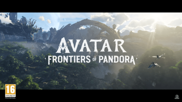 Avatar Frontiers of Pandora reads the text over a lush, green, mountainous landscape, with two flying creatures ridden by two people seen in the bottom right.