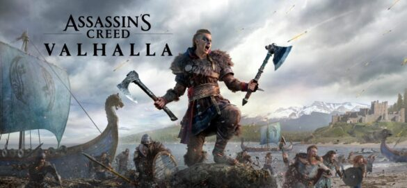 Assassins Creed Valhalla key art featuring female Eivor, holding two axes seemingly leading a boat of vikings onto a beach.