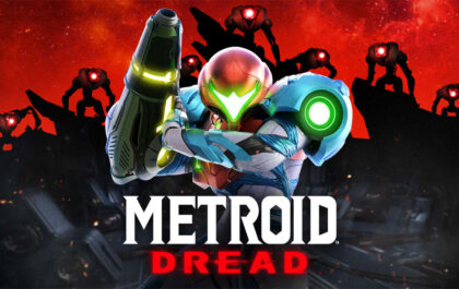 Samus Aran in the centre of the photo in her space suit with left hand raised, the background consists ofrobots with red eyes on a red backdrop