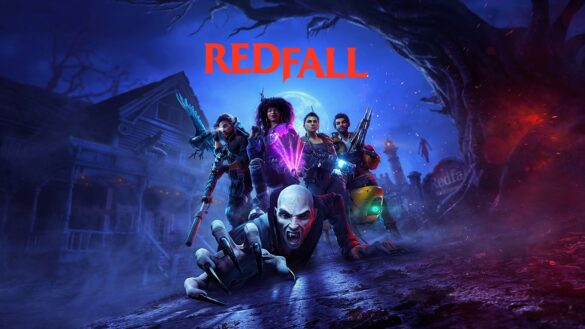 Redfall Announced at E3. Shows a vampire crawling towards the camera with the gang of characters posed behind it.