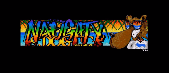 Naughty Dog in rainbow text with their old dog with sunglasses logo in right corner