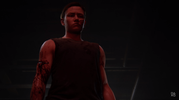 Abby from TLOU2 Standing in Red Light looking stern