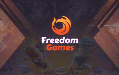 Text saying Freedom in white and games in orange with a phoenix logo above