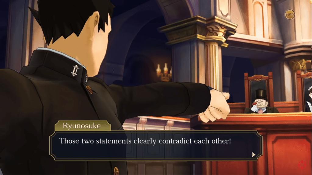 """Man in Ace Attorney pointing at other man in the jury stand with rose in hand. There is a text box below that says: """" Those two statements clearly contradict each other!"""""""