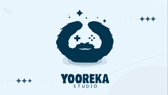A light bluebackground with a darker blue logo that is a bearded face that has game controller button eyes with the words Yooreka studio below it