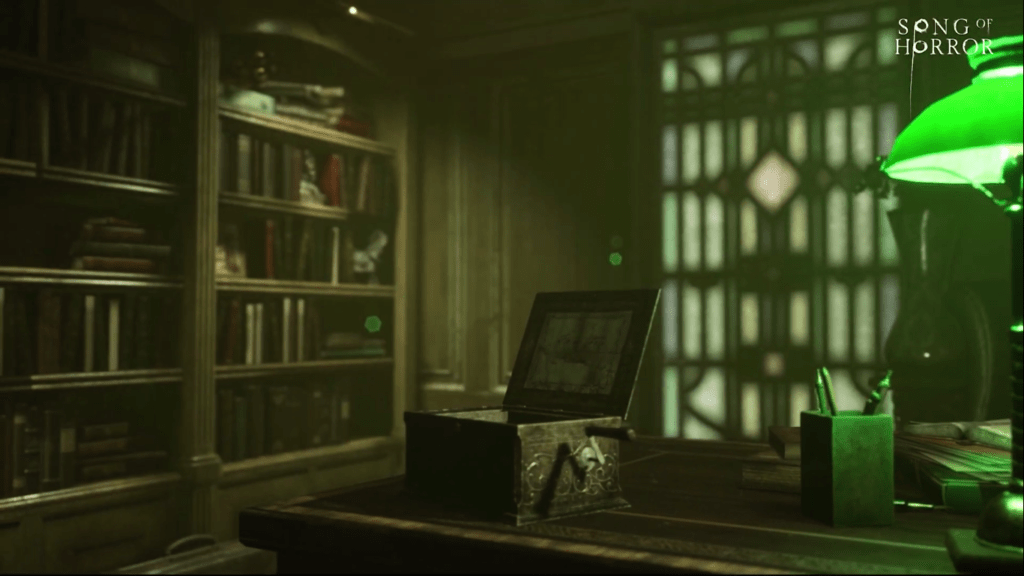 An open music box on a desk in what looks like a study with books on a shelf and a lamp with a green glass lampshade is also on the desk