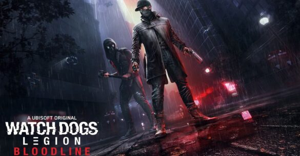 Watch Dogs: Legion Bloodline key art. Shows protagonist Aiden Pearce and deuteragonist Wrench stood in a dark alleyway, with the logo seen in the bottom left.