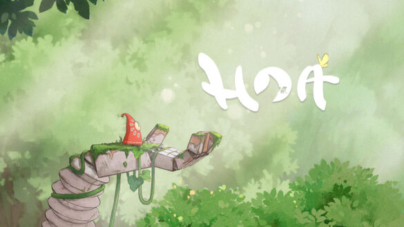 Hoa game image. A lush light green forest background with a character in a red cloak standing on a tree branch on the left of the image.