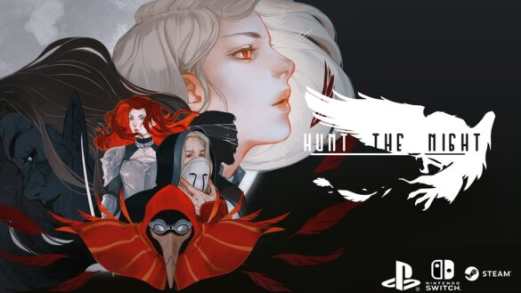 Hunt the Night poster image black and white with red, girls profile facing to the right with characters in front of her