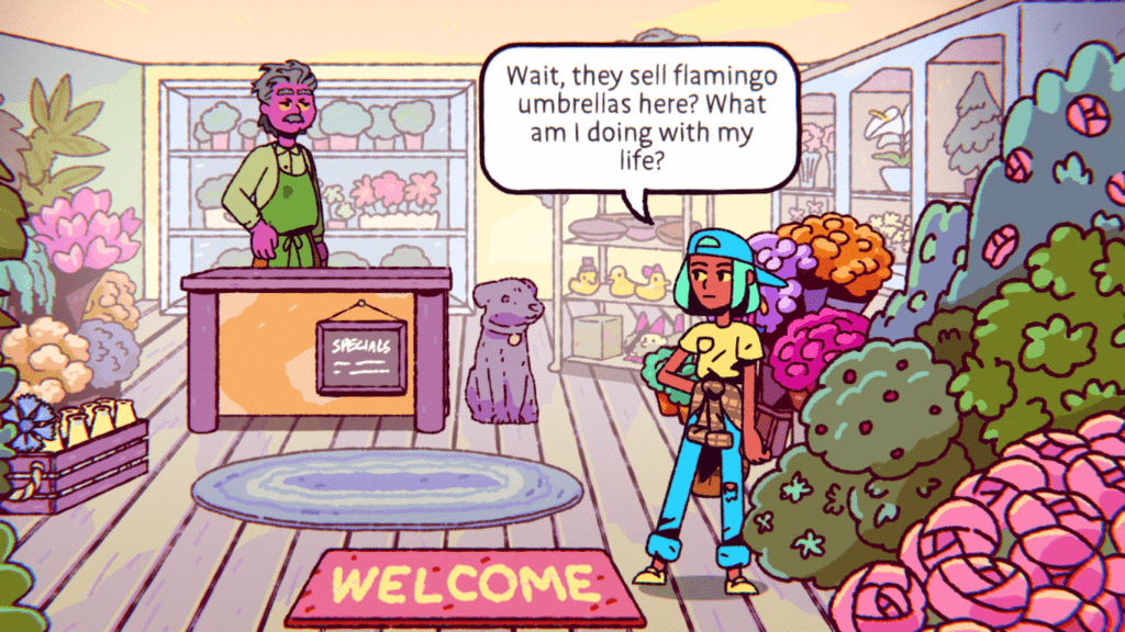 Ali from The Big Con explores a flower shop.