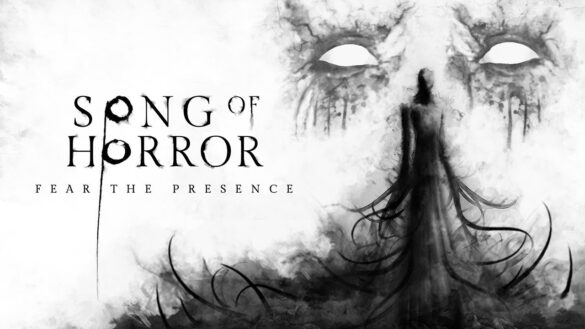 A creepy figure shrouded by black smoke is to the right of the image and has a pari of lage white eyes with grey outlines above it. The words 'Song of Horror Complete Edition' are on the left of the image