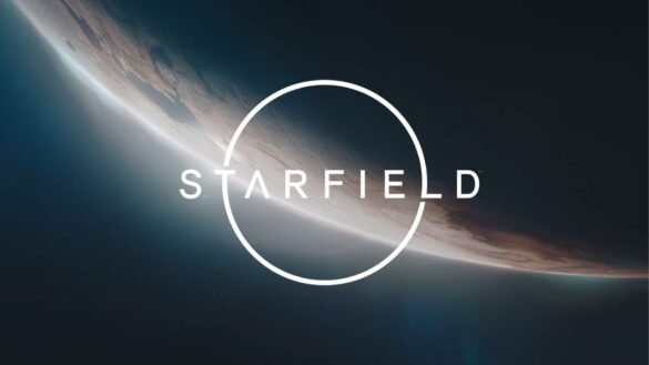 Starfield logo in space with a backdrop of a planet, a soft glow coming over the horizon.