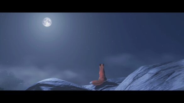 A fox in Ghost of Tsushima staring at the moon