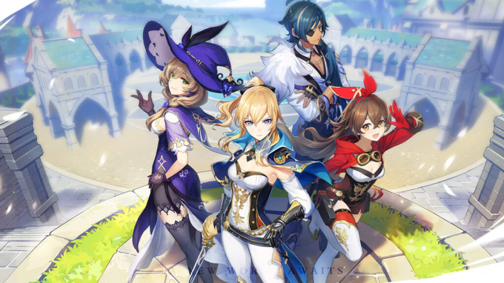 Genshin Impact, mobile games, features 4 of the characters in the game, Kaeya, Amber, Lisa, and Jean all stood in a city.