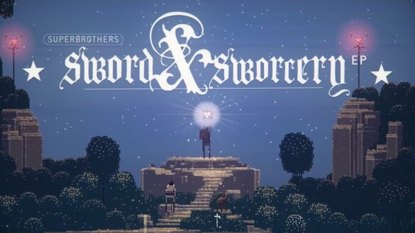 Superbrothers sword and sorcery ep key art. The main character is stood on a stone podium holding a glowing book with the title of the game above her.
