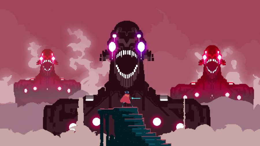 The drifter stands high above the clouds on a staircase. Three titans, giant robotic creautres millions of times bigger than the drifter face him nearby, each with their mouths open, baring many teeth, and four glowing eyes pointed the drifters way.