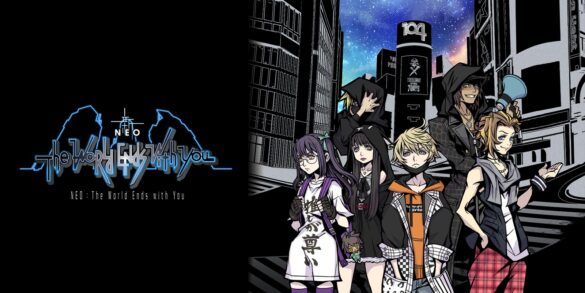 Cover art for NEO: The World Ends With You. The main characters, Rindo, Fret, Nagi, Shoka, Minamimoto, and a mysterious hooded figure are stood in the shibuya scramble crossing. The logo for the game is to the left of them.