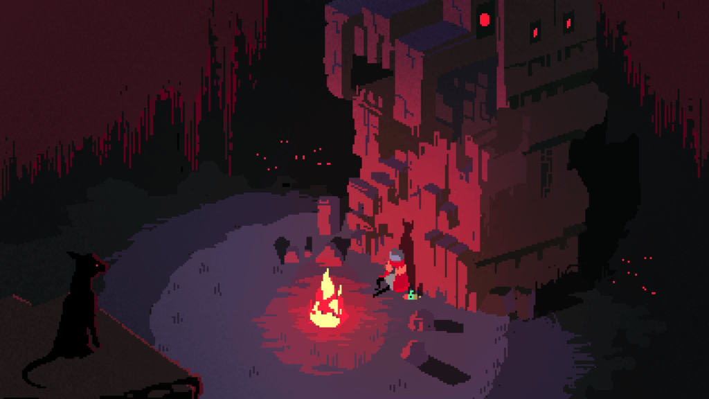 The drifter is sat down. There's a campfire providing a glow in a small radius. They're sat against a stone momunment that vaguely looks like a creature of some kind. A dog watches them from a distance, with glowing red eyes.