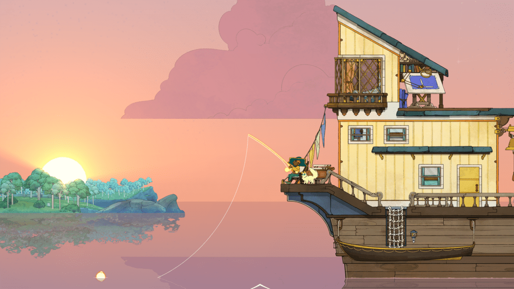 Stella sat at the back of her boat at sunset. She's fishing. In the background there's a small island covered in trees.