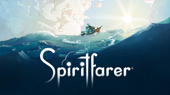 Spiritfarer key art. The name of the game appears at the bottom, the art is of painterly waves with a large boat sailing across them.
