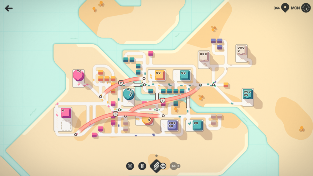 Screenshot from Mini Motorways. There is a simplistic bus map like look to the game, with bus depots presented in the form of colourful squares, with roads connecting them together, and various corrispondingly coloured buses travelling among them.