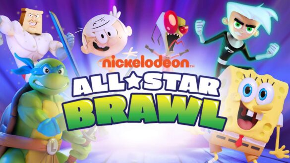 Spongebob Squarepants, Invador Zim, Danny Phantom, Powdered Toast Man, Lincoln Loud, and Leonardo from TMNT stood in front of a purple background with the logo for nickelodeon all star brawl in the foreground.