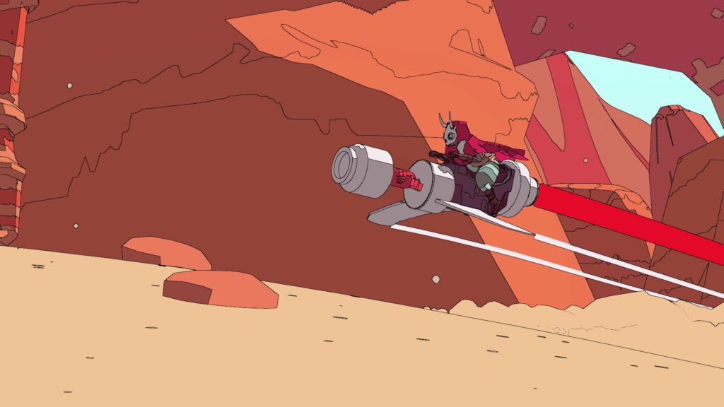 Sable on her hoverbike driving it across the desert, a rocky cliff in the background.